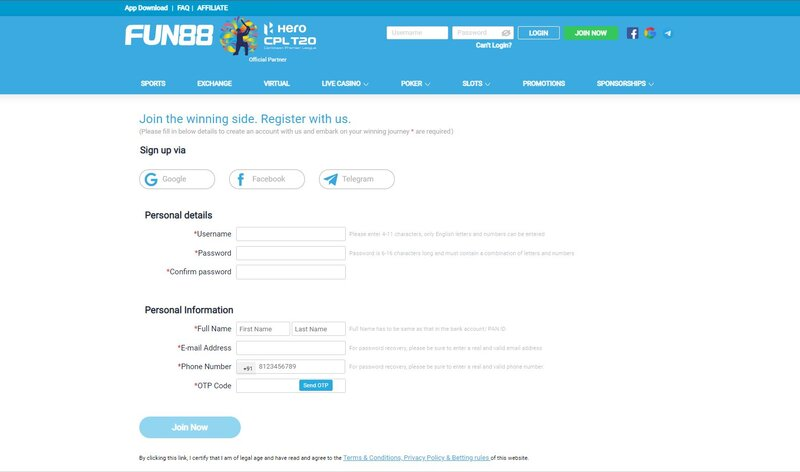 Follow Below Steps on How to Register Fun88